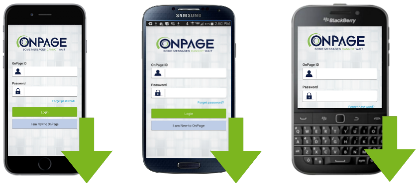 Download the OnPage Pager App for iPhone, Android and Blackberry Smartphones